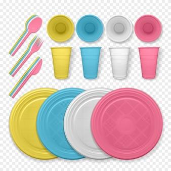 Conjunto de platos de plástico realistas de color amarillo y blanco.
