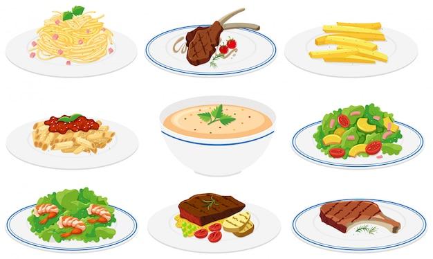 Conjunto de platos saludables.