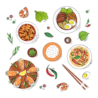 Conjunto de platos tradicionales coreanos dibujados a mano en estilo boceto