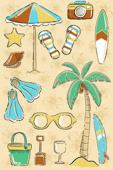 Conjunto de playa dibujo a mano de dibujos animados