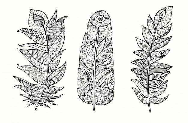 Conjunto de plumas dibujadas a mano con doodle, zentangle, elementos florales, vintage.