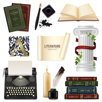 Conjunto de plumas de objetos de literatura realista con libros vintage de tintero y máquina de escribir aislada