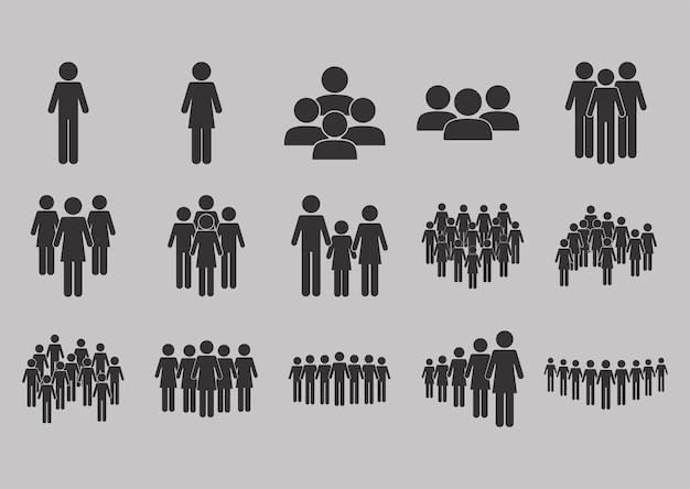 Conjunto de población de personas de pictograma.