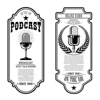 Conjunto de podcasts vintage, volantes de radio con micrófono.