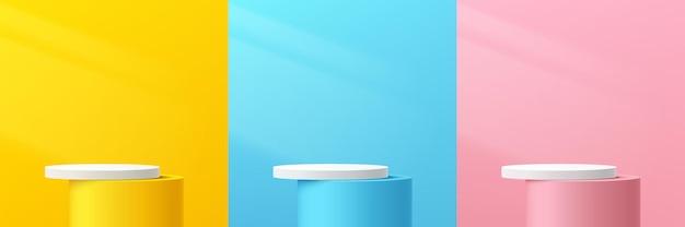Conjunto de podio de pedestal cilíndrico abstracto 3d pastel amarillo rosa azul y blanco con iluminación
