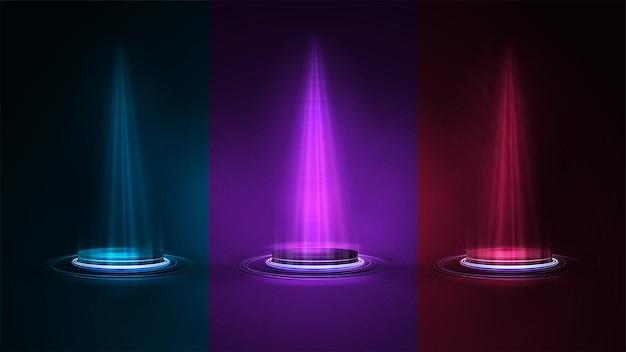 Conjunto de podios azules vacíos para la presentación del producto, ilustración de neón realista 3d.