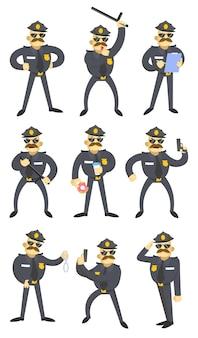 Conjunto de policías americanos divertidos. ilustración de dibujos animados