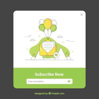 Conjunto de pop ups de suscripción con diseño plano