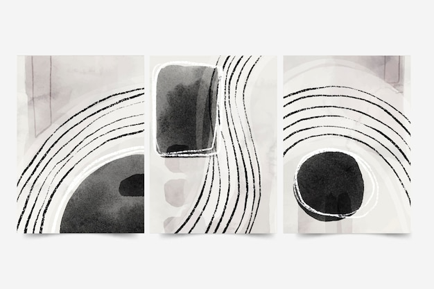 Conjunto de portada de arte abstracto acuarela