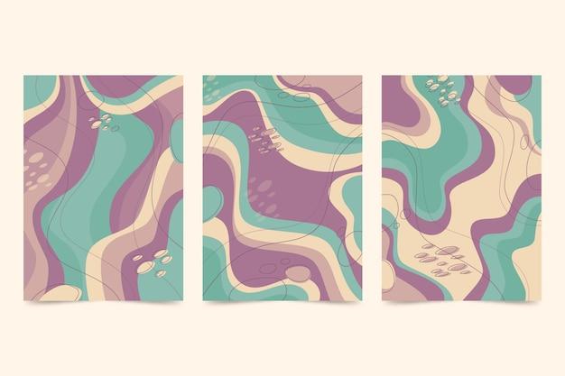 Conjunto de portada de arte abstracto plano