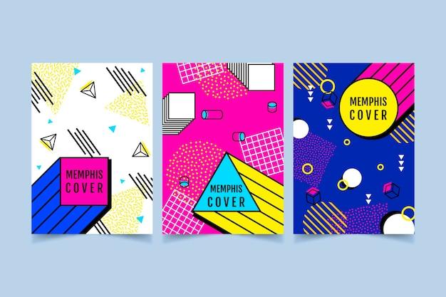 Conjunto de portada colorida diseño de memphis