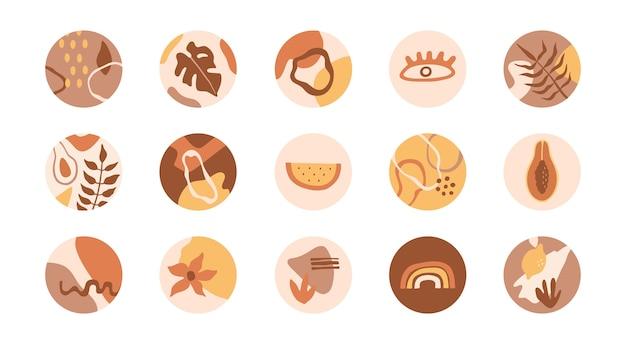 Conjunto de portada destacada de redes sociales. formas abstractas, flores, plantas en iconos redondos, colores pastel. colección en estilo doodle plano, para historias.