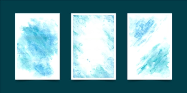 Conjunto de portada formas de acuarela
