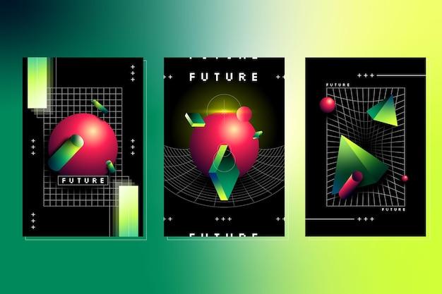 Conjunto de portada futurista degradada