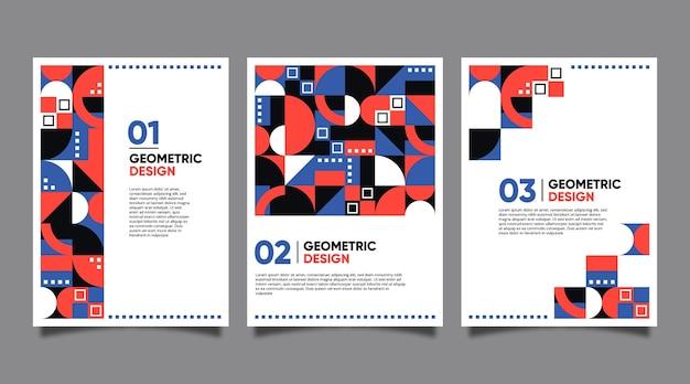 Conjunto de portada de negocios geométrica