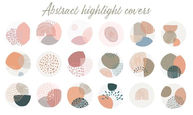 Conjunto de portadas abstractas destacadas de instagram