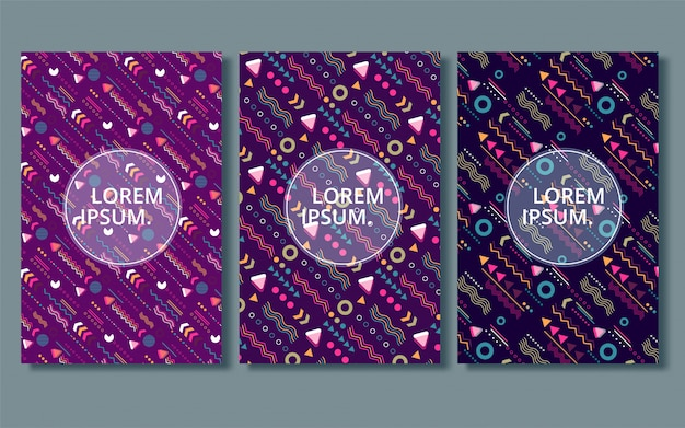 Conjunto de portadas abstractas modernas, portadas mínimas. fondo geométrico colorido