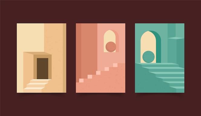 Conjunto de portadas de arquitectura minimalista