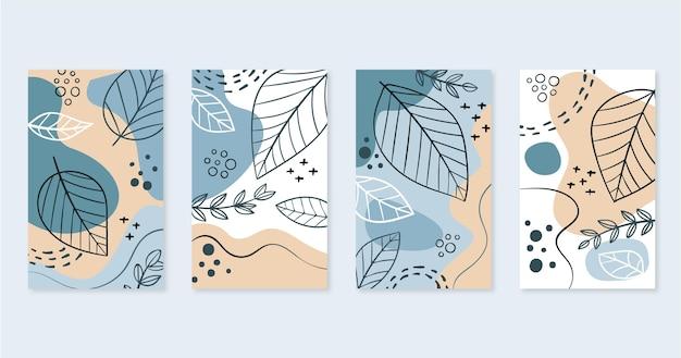 Conjunto de portadas de arte abstracto dibujado a mano