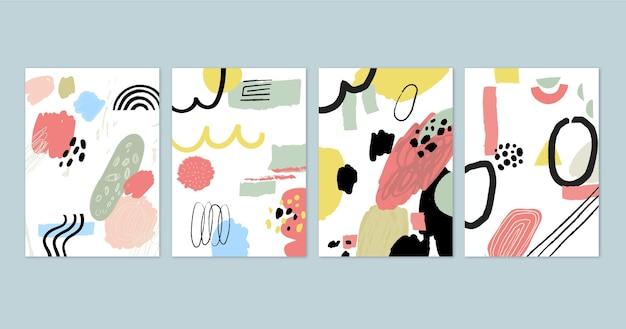 Conjunto de portadas de arte abstracto pintado a mano vector gratuito