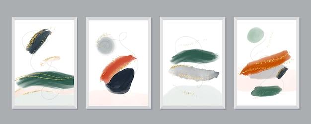Conjunto de portadas de arte abstracto pintado a mano