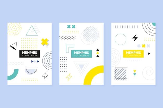 Conjunto de portadas coloridas de diseño de memphis