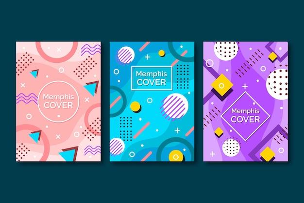 Conjunto de portadas de diseño abstracto de memphis