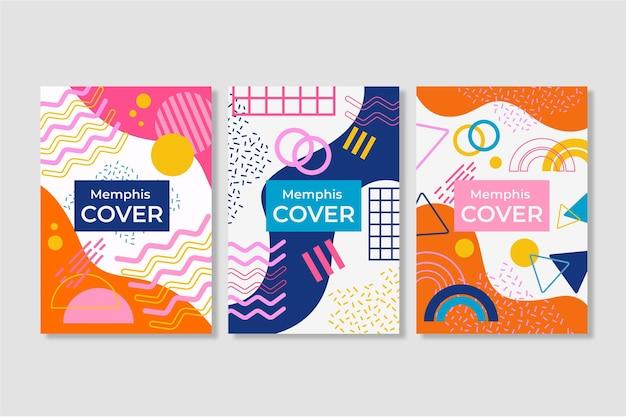 Conjunto de portadas de diseño colorido de memphis