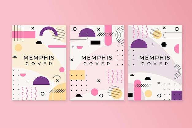 Conjunto de portadas de diseño geométrico de memphis