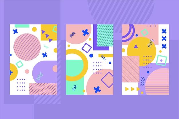 Conjunto de portadas de diseño de memphis de formas geométricas