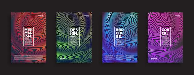 Conjunto de portadas de folletos ripple wave