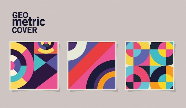 Conjunto de portadas geométricas vintage y marcos multicolores