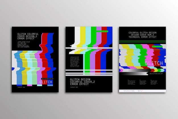Conjunto de portadas glitch de diseño gráfico