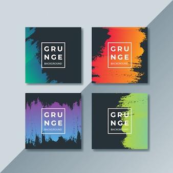 Conjunto de portadas de grunge moderno