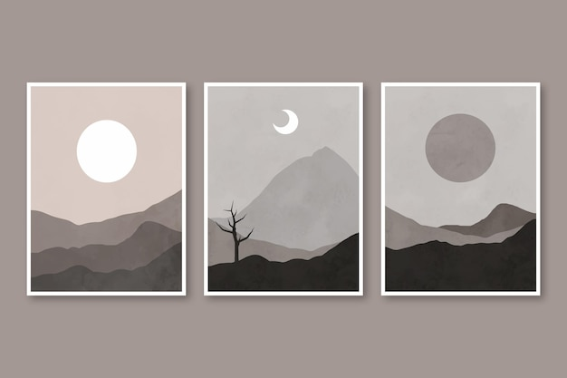 Conjunto de portadas de paisaje abstracto dibujado a mano