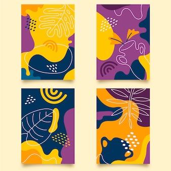 Conjunto de portadas de plantilla de formas dibujadas a mano abstracta