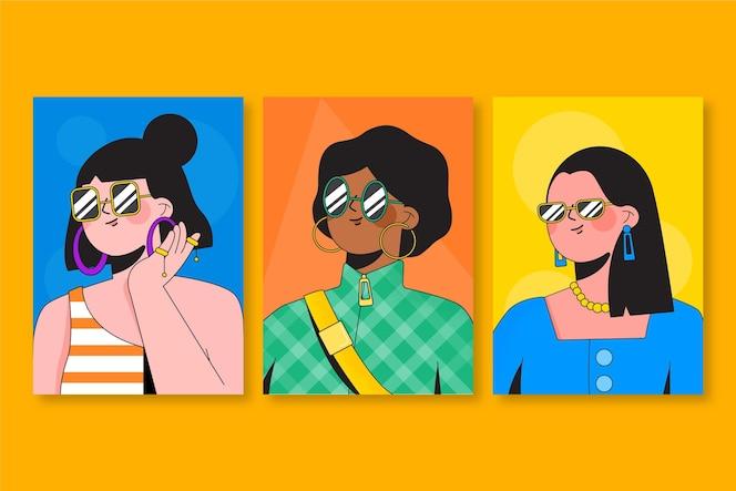 Conjunto de portadas de retratos de moda plana