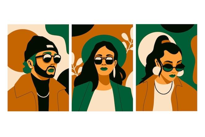Conjunto de portadas de retratos de moda