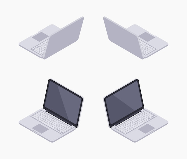 Conjunto de los portátiles isométricos isométricos de plata.