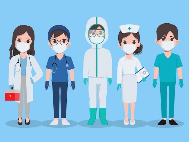 Conjunto de pose de animación de trabajo en equipo médico