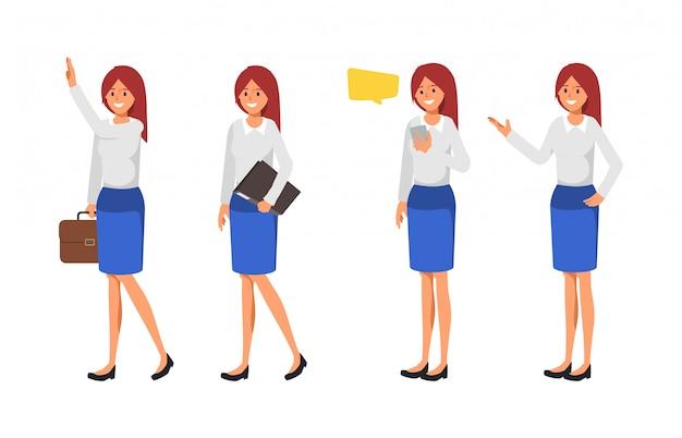 Conjunto de pose de mujer de negocios.
