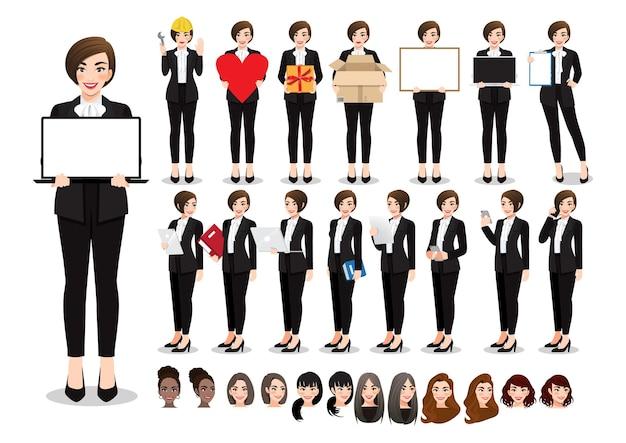 Conjunto de pose de personaje de dibujos animados de empresaria. mujer de negocios hermosa en traje negro de estilo de oficina.