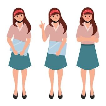 Conjunto de pose de personaje de mujer