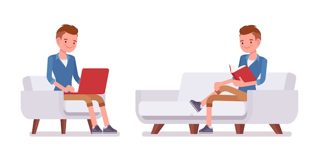 Conjunto de pose sentada milenaria masculina