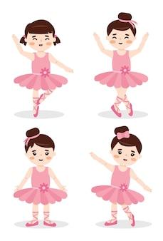 Conjunto de poses de ballet con niñas