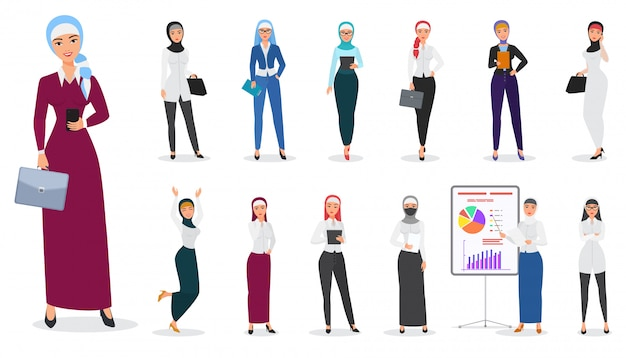 Conjunto de poses de carácter musulmán árabe mujer de negocios.
