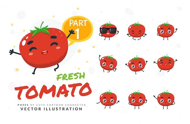 Conjunto de poses de dibujos animados de tomate.
