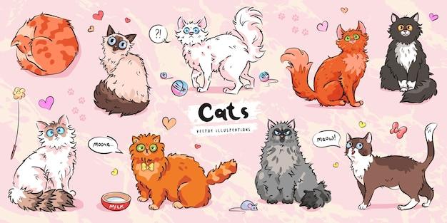 Conjunto de poses diferentes de personajes de gatos lindos
