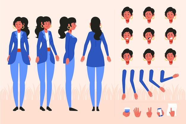 Conjunto de poses de diferentes personajes