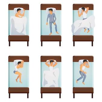 Conjunto de poses de hombre durmiendo
